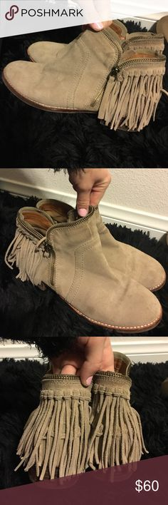 tan suede fringe booties have fringe around the ankle of the shoe. only worn a few times. super cute to add an edge to any outfit. they were super expensive from a boutique in San Francisco and have a lot of wear left in them. price is negotiable for a shoe lover! 👠❤ Shoes Ankle Boots & Booties