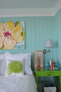 turquoise + apple green: Jane Coslick Cottages (This looks almost exactly like my painted paneled bedroom!)