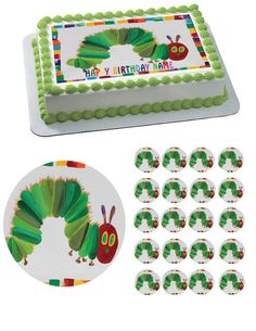 THE HUNGRY CATERPILLAR Edible Birthday Cake Topper OR Cupcake Topper, Decor
