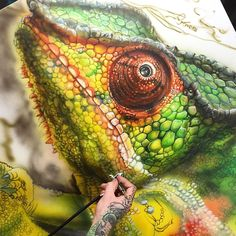 chameleon painting by Drkturcotte