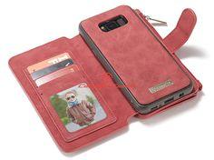 CaseMe Samsung Galaxy S8 Plus Zipper Wallet Detachable 2 in 1 Flip Case Red