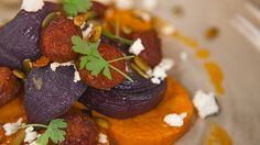 Everyday Gourmet - roast sweet potato with red onion, pumpkin seeds,  chorizo and feta