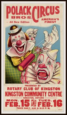 Vintage Reproduction Circus Poster Art Print # clowns are healers # bring on the laughter Old Circus, Circus Art, Circus Theme, Creepy Circus, Halloween Circus, Scary Clowns, Halloween Ideas, Vintage Advertisements, Vintage Ads