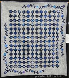 "Blue on Blue by Reni Dieball, quilted by Diane Pitchford.  3"" shoo fly blocks.  2015 Arizona Quilters' Guild show.  Photo by Quilt Inspiration."
