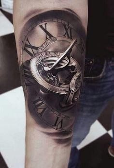 Upper Arm Tattoos, Forearm Tattoos, Body Art Tattoos, New Tattoos, Tattoos For Guys, Cool Tattoos, Old Clock Tattoo, Clock Tattoo Design, Tattoo Sleeve Designs