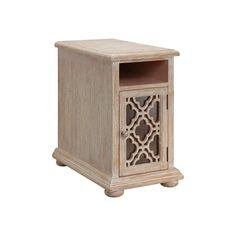 Duma End Table has top wire management and one open compartment. Back panel features two 110 volt electrical plug-ins and two 2.1 amp USB ports. White washed natural wood-tone finish. Clear glass.