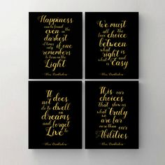 "Set of 4. Harry Potter Print. Printable Poster. Happiness. Choice. Dwell. Albus Dumbledore Quote Print. Harry Potter Wall Decor. 8""x10"" by MyPrintableDream on Etsy"