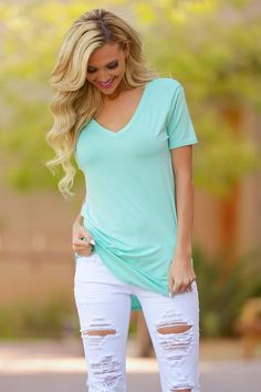 Goes With Everything V-Neck Top - Mint from Closet Candy Boutique #fashion #summer #ootd  #outfit