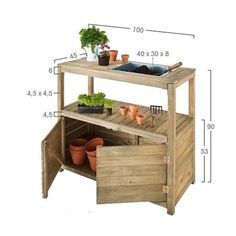 An extremely handsome, sturdily constructed potting table, complete with galvanized steel tray, centre shelf and good sized cupboard space. A must for all those messy jobs in the greenhouse or garden room, yet strong enough to leave outside throughout the Container Plants, Container Gardening, Small Patio Design, Cozy Corner, Balcony Garden, Garden Inspiration, Garden Ideas, Kitchen Cart, Vegetable Garden