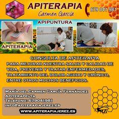 http://www.apiterapiajerez.es/  Teléfono: 679041981  Mª del Carmen García Fernández. Apiterapeuta CONSULTA DE APITERAPIA para mejorar nuestra salud y calidad de vida, prevenir y tratar enfermedades, tratamiento del dolor agudo y crónico, entre otros muchos beneficios.