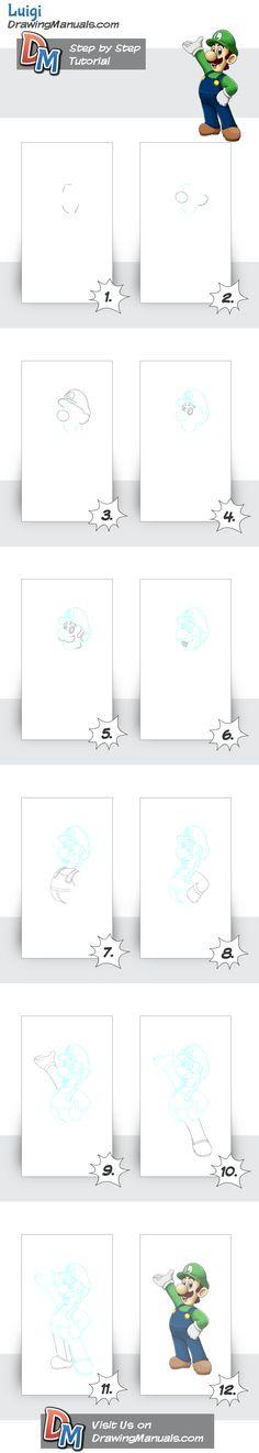 How to Draw Luigi Step-by-Step, all steps http://drawingmanuals.com/manual/how-to-draw-luigi-step-by-step/