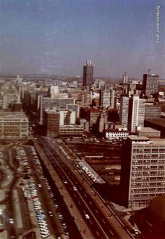 Southern view from Schlesinger Building Braamfontein 1971 Third World Countries, Seattle Skyline, First World, South Africa, Old Things, Southern, City, Building, Photography