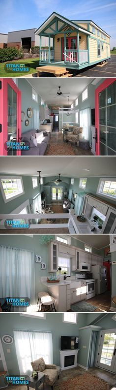 The 400 sq.ft. park model DeeDee was built by Titan Tiny Homes in Illinois. The tiny house has a large front porch, French doors, and main floor bedroom.