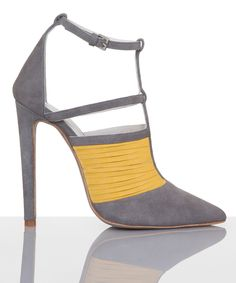 Plomo Morgan Grey-Yellow heel sandle w/ instep strap ~ for ankle crossing