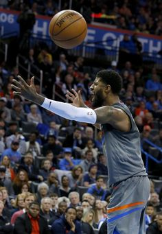 Oklahoma City's Paul George (13) argues a foul before being called for a technical foul during the NBA basketball game between the Oklahoma City Thunder and the Los Angeles Lakers at the Chesapeake Energy Arena, Sunday, Feb. 4, 2018. Photo by Sarah Phipps, The Oklahoman