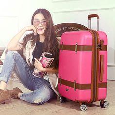 NEW Hot Vintage-Style Hardside Universal Wheel Trolley Luggage 3 Colors 2 Sizes