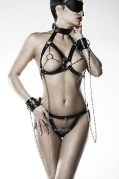 Reizwäsche Fetisch Leder Fessel Set schwarz silber