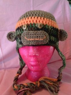 Pink zombie creations 10$ camo sock monkey crocheted hat
