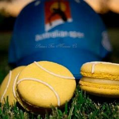 Australian open tennis / ausopen / macarons / french sweets / tennis balls by parissesfinemacaronco