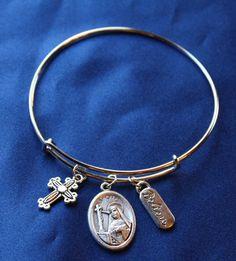 St. Rita Religious Saint Medal Wire Bangle Bracelet
