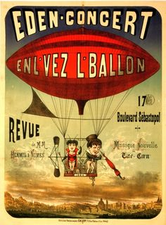 1884 Vintage French Circus Poster with Airship | eBay