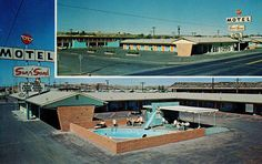 Vintage postcard for the Sun n' Sand Motel. Notice the great swimming pool area that has it's own scene going. Holbrook, AZ.