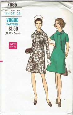 Vogue 7689; ca. 1969; Half Size One-Piece Dress. Semi-fitted slightly A-line dress with rolled collar and front seaming detail has short or wrist length sleeves. Top-stitch and button trim. Featured in Vogue Pattern Book December 1969/January 1970 1960s Dresses, One Piece Dress, Pattern Books, December, Vogue, Stitch, Button, Detail, Sleeves