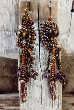 Beautiful beaded free form earrings in shimmering by JudesArt