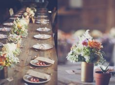 Rustic barn place setting   | Read More: http://www.loveandlavender.com/2014/05/pig-themed-barn-wedding/