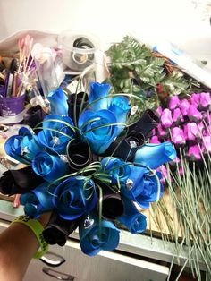 Black and blue wooden rose bouquet