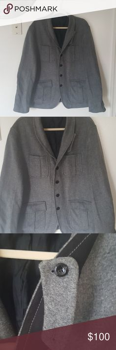 Authentic Armani Exchange Mens Coat There are no stains and already was dry cleaned. It is also still is amazing shape. It can go for something formal or just going out causally. It is pretty thick and heavy. The buttons do have Armani Exchange on them. The inside pocket does go deep. Pit to Pit-23in Should to Bottom of Sleeve-26 1/2in Full Length-31in Armani Exchange Jackets & Coats