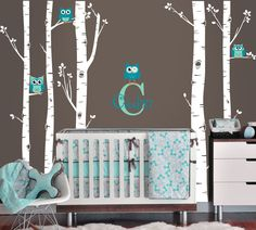 Owls and Birch Tree Forest Wall Decal, Birch trees, Birch forest, Birch Tree Owl Wall Vinyl for Nursery, Kids or Childrens Room. $68.00, via Etsy.