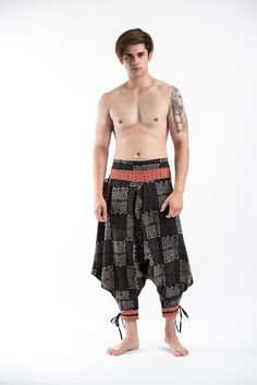Maze Low Cut Thai Hill Tribe Fabric Men's Harem Pants with Ankle Straps