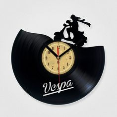 Vinyl Record Clock Vespa by TheVinylEaters on Etsy Used Vinyl Records, Vinyl Record Clock, Record Wall, Records Diy, Vespa Lambretta, Vespa Scooters, Laser Art, Quartz Clock Mechanism, 3d Printing