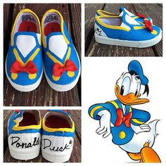 Donald Duck inspired shoes donald suck custom by PixieInspirations