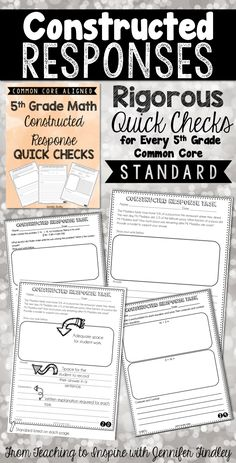 This resource includes 36 constructed response quick checks: one per standard (including each substandard) for the Grade Common Core Math Standards. Math Teacher, Math Classroom, Teaching Math, Classroom Ideas, Maths, Math Practice Worksheets, Math Resources, Math Activities, Constructed Response