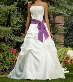 Pretty purple and white wedding dress!