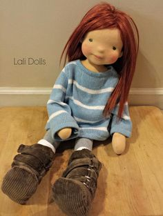 """Noor 21"""" art doll with mohair wig"""