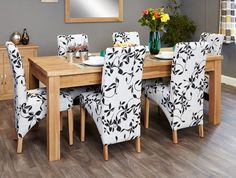 buy baumhaus mobel oak extending dining set with 6 upholstered chairs 150cm 200cm online cfs uk