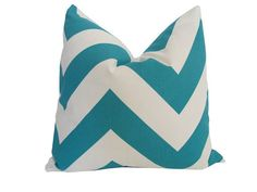 Free US Shipping-Decorative Designer Pillow Cover-18x18 inch-Teal & White Large Chevron
