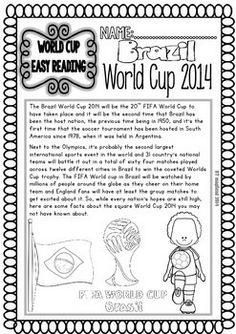WORLD CUP 2014 READINGS AND PRINTABLES (FREEBIE) - TeachersPayTeachers.com