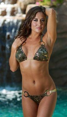 057ea083de03d Dare Me Bikini Green Metallic Gold Animal Print w  Gold Ring Bikini Babes
