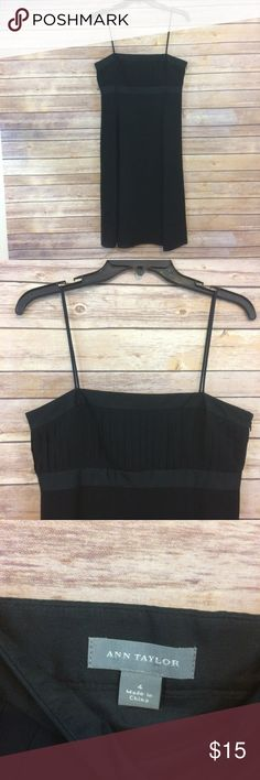 """Cute Pleated Silk Chiffon Dress Ann Taylor Beautiful black silk dress! Sorry for the terrible photos - I could not get my camera to capture this dress well!  It is a pretty dress with a pleated top and a flowy chiffon layer.  Dry clean.  Please check the measurements, and if you have any questions or need any other measurements don't hesitate to ask!  Bust: 17""""  Waist: 30""""  Length: 40.5""""  103 Ann Taylor Dresses"""