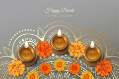 Diwali festival card with diya lamp and ... | Premium Vector #Freepik #vector #flower #floral #diwali #ornament