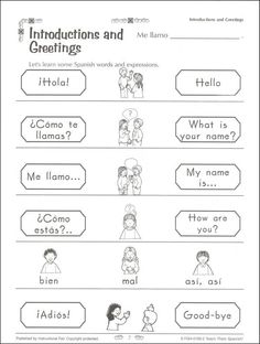 free spanish worksheets for kids | Spanish Worksheets For Kids Greetings - free french worksheets online ...