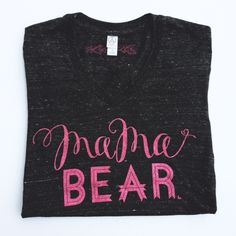 """Mama Bear"" Eco Black V-Neck Tee Pink Glitter Ink 