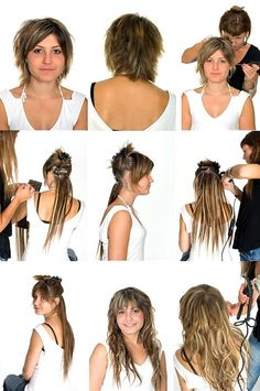 How to Put Extensions in Short Hair  #HairStyles #ShortHair