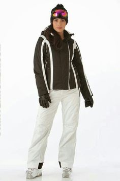 Yanci in black with white trim on her jacket.