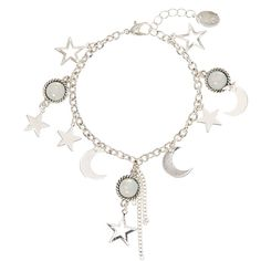 Silver Toned Night Theme Charm Bracelet ($13) ❤ liked on Polyvore featuring jewelry, bracelets, silver tone jewelry, charm bracelet, star bangle, star charm bracelet and star jewelry