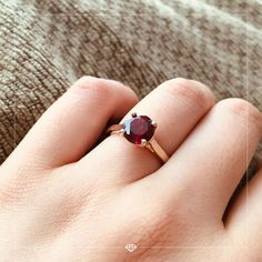 """What better way to start July than with this gorgeous ruby ring? 📸 courtesy Tracy 🌟 """"My fiancé got me this beautiful lab ruby ring for our engagement. The stone is very clear and the color is perfect. Gold Ring Designs, Gold Earrings Designs, Gold Jewellery Design, Red Gemstones, Pretty Rings, Fine Jewelry, Gems Jewelry, Ruby Rings, Ear Rings"""